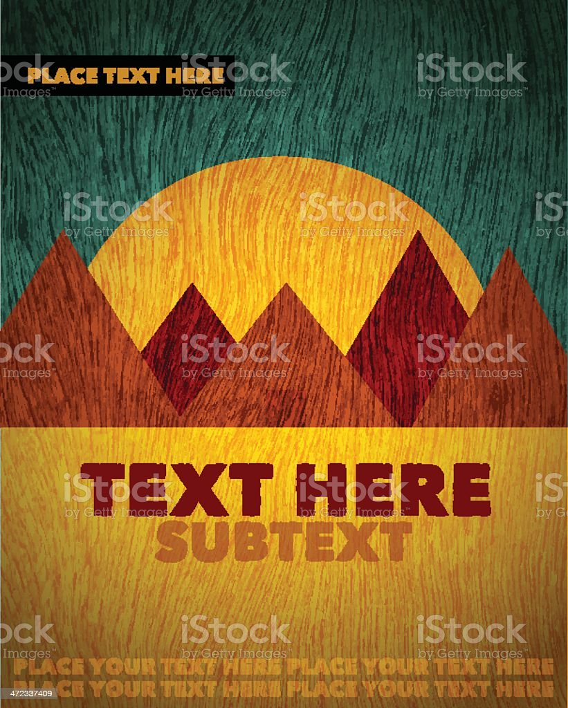 A template of a poster featuring brown mountains and a sun  royalty-free stock vector art