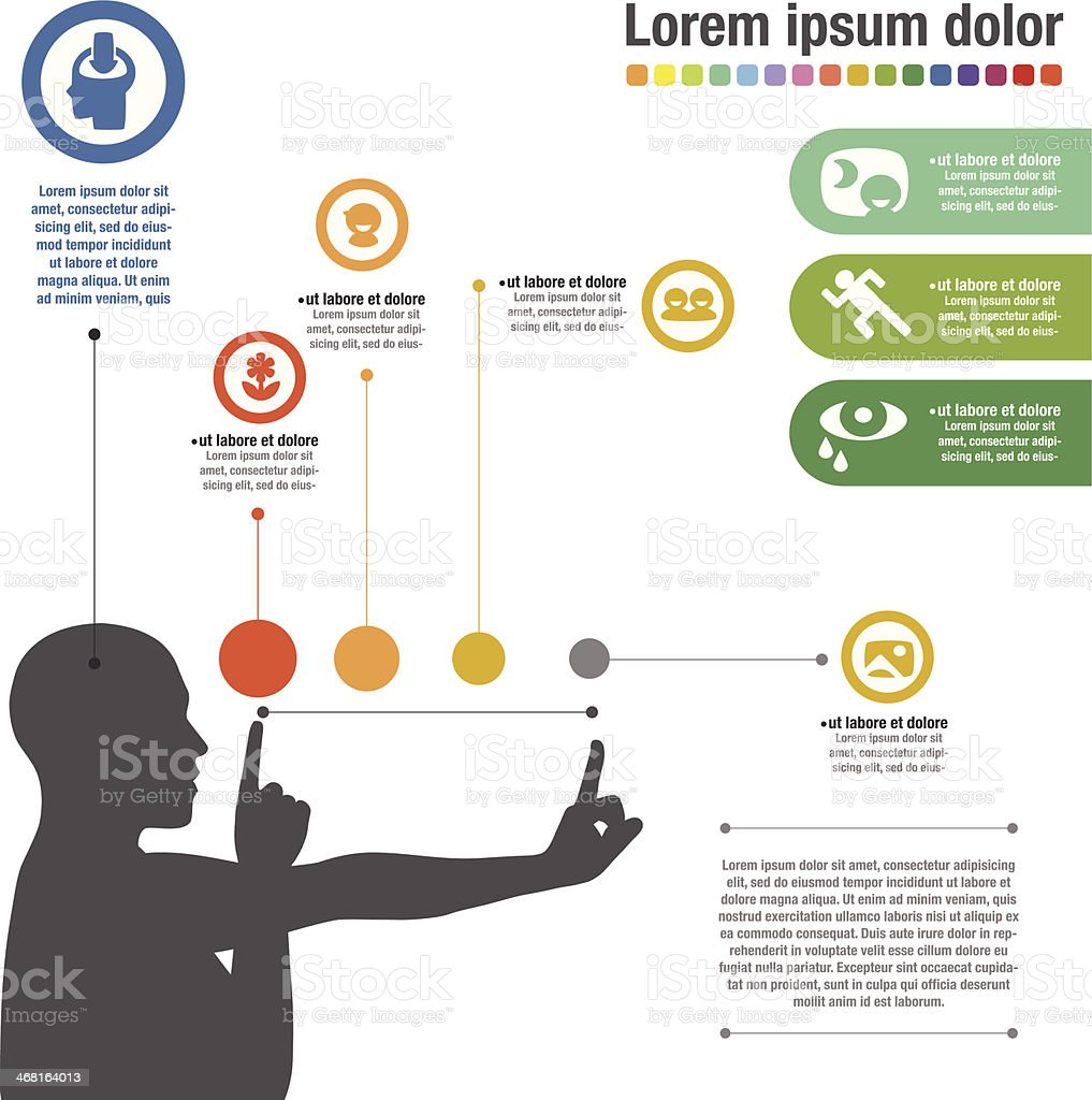 Template of a silhouette of person getting eyes examined vector art illustration
