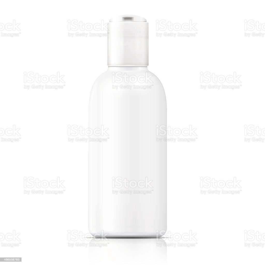 A template of a white bottle of lotion with white background vector art illustration