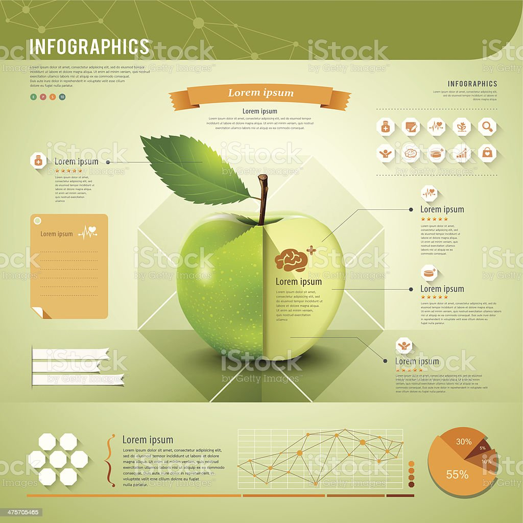 Template of apple infographics in green and orange vector art illustration