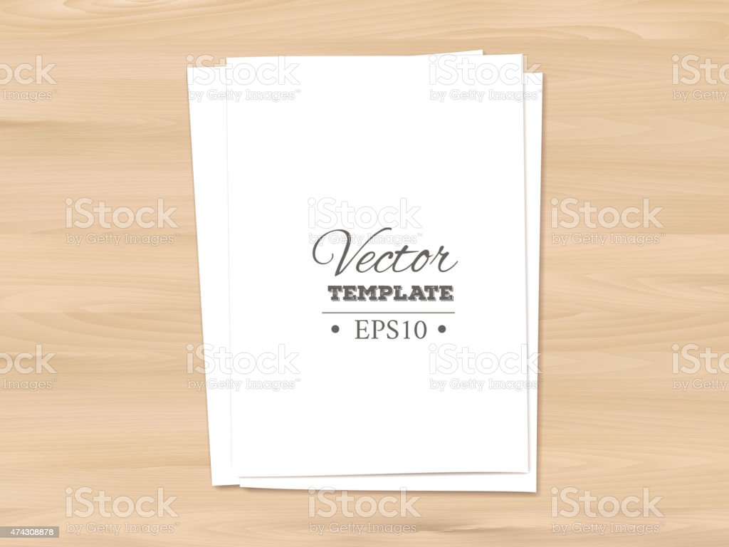 Template of blank paper sheet on a wooden background vector art illustration