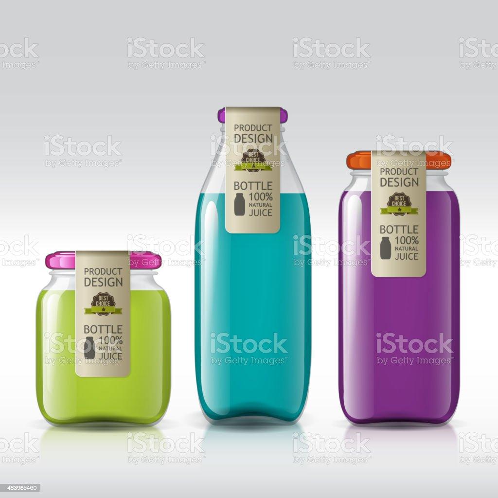 template of bottle juice, jam, liquids vector art illustration
