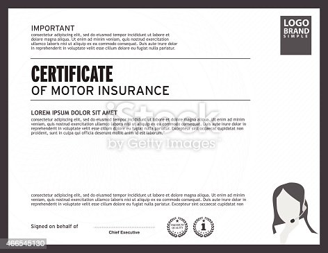 Template Of Certificate Motor Insurance With Woman Logo Stock