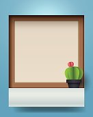 Template of window and cactus shape on blue background