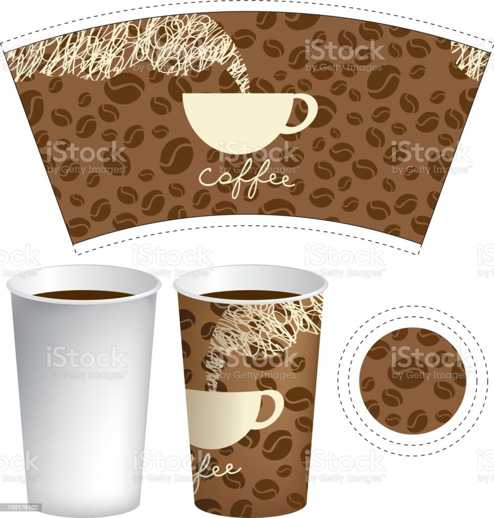 template paper cup for hot drink with coffee cup vector art illustration