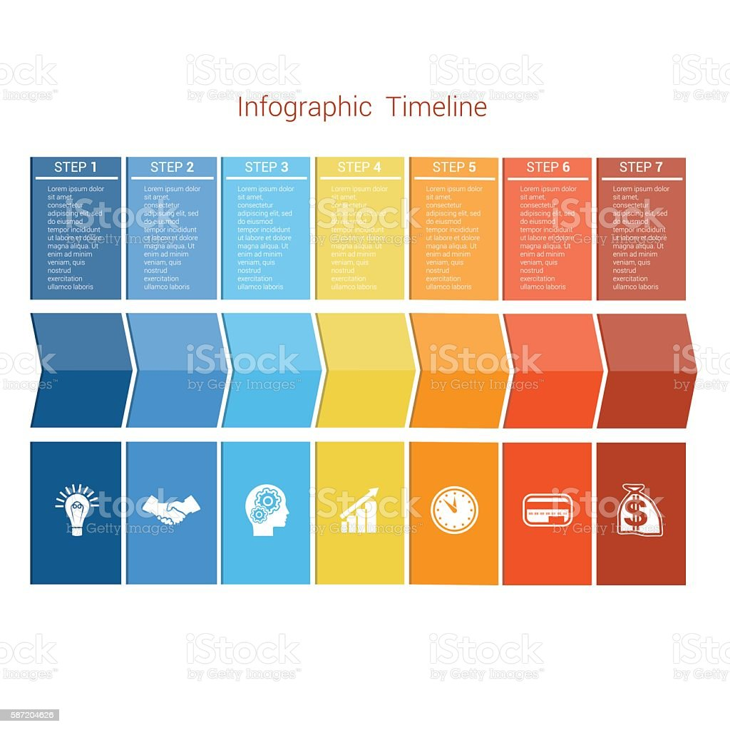 Template Timeline Infographic colored arrows seven position vector art illustration