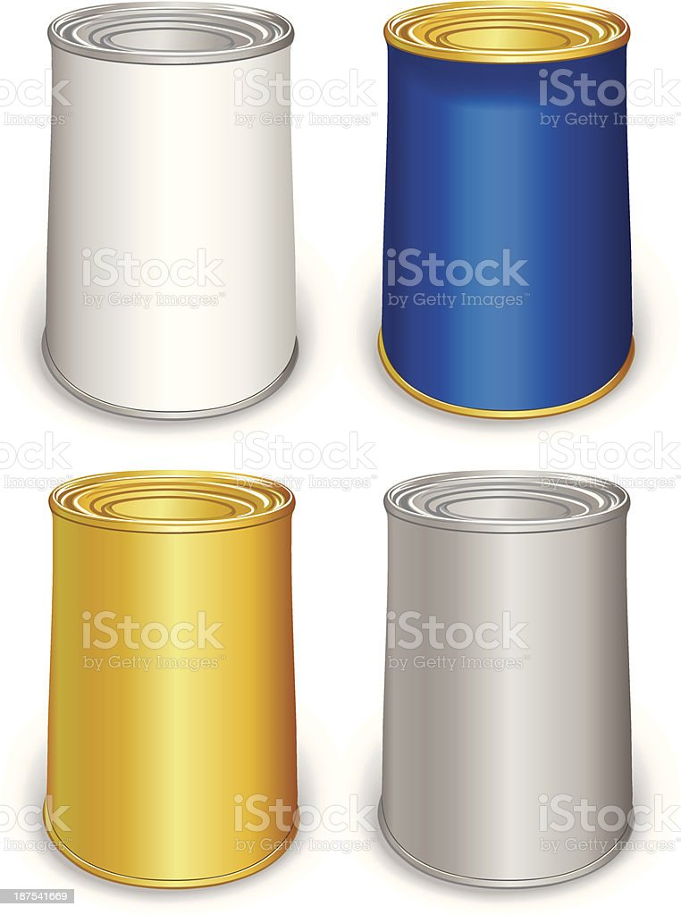 Template tin colored cans royalty-free stock vector art