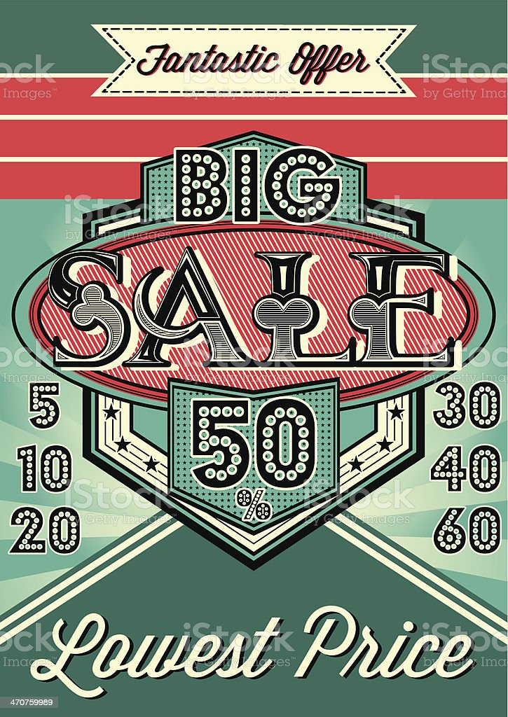 template vintage poster for the big sale royalty-free stock vector art