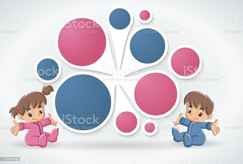 Template with a happy cartoon babies vector art illustration