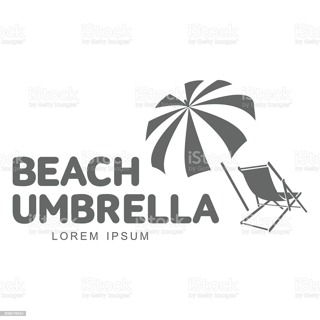 Beach chair and umbrella black and white - Template With Beach Umbrella And Sun Bathing Lounge Chair Royalty Free Stock Vector Art