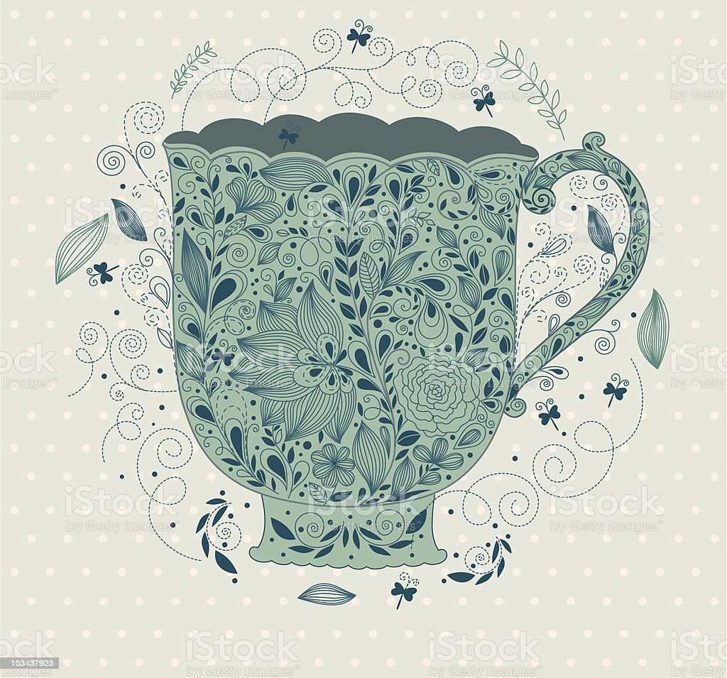 Template with cup vector art illustration