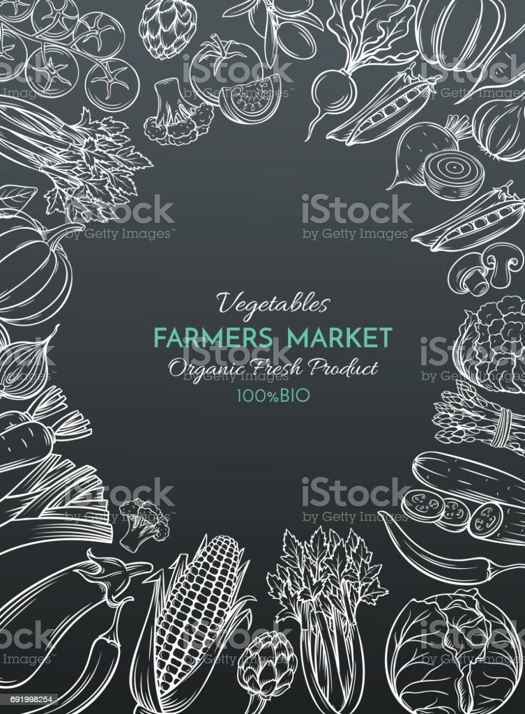 template with hand drawn vegetables vector art illustration