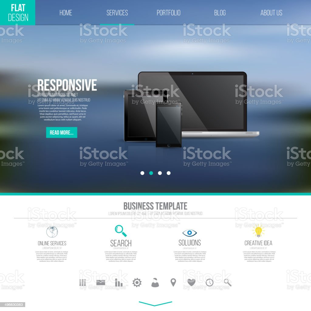 UI template with icons vector art illustration