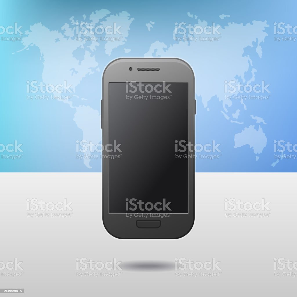 Template with Touchscreen Mobile Phone Device and World Map on royalty-free stock vector art