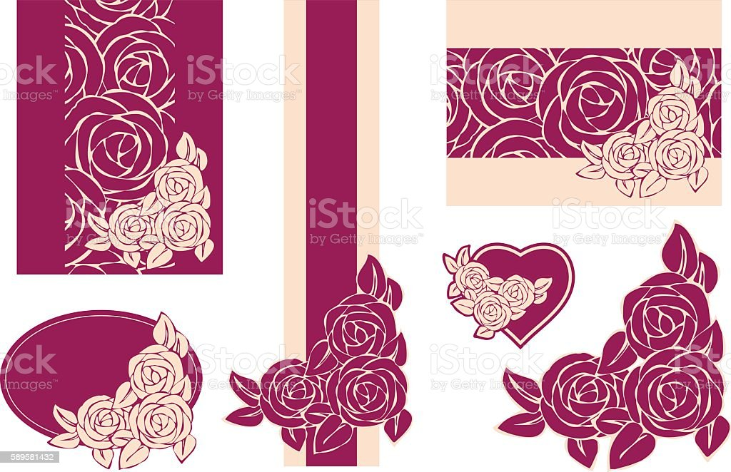 Templates and design elements with roses. vector art illustration