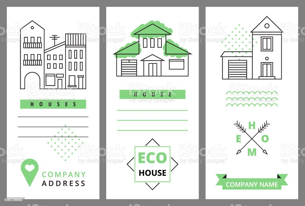 Templates business card with houses vector art illustration