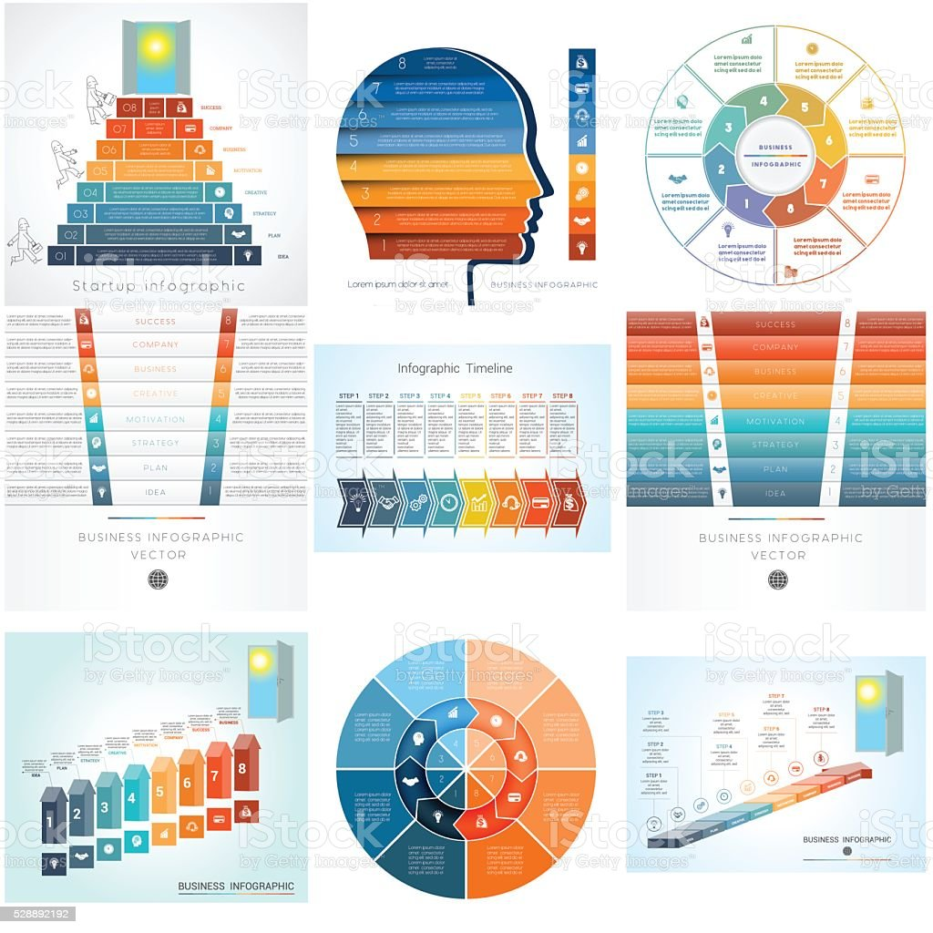 templates element for Infographics diagram with eight options vector art illustration