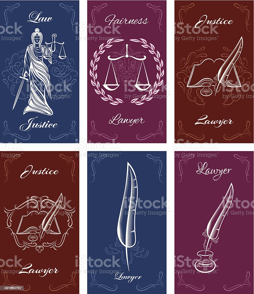 templates for business cards in law vector art illustration