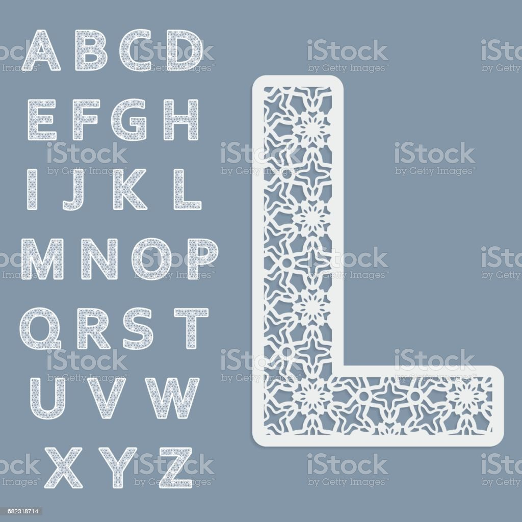 Templates for cutting out letters. Full English alphabet.  May be used for laser cutting. Fancy lace letters. vector art illustration
