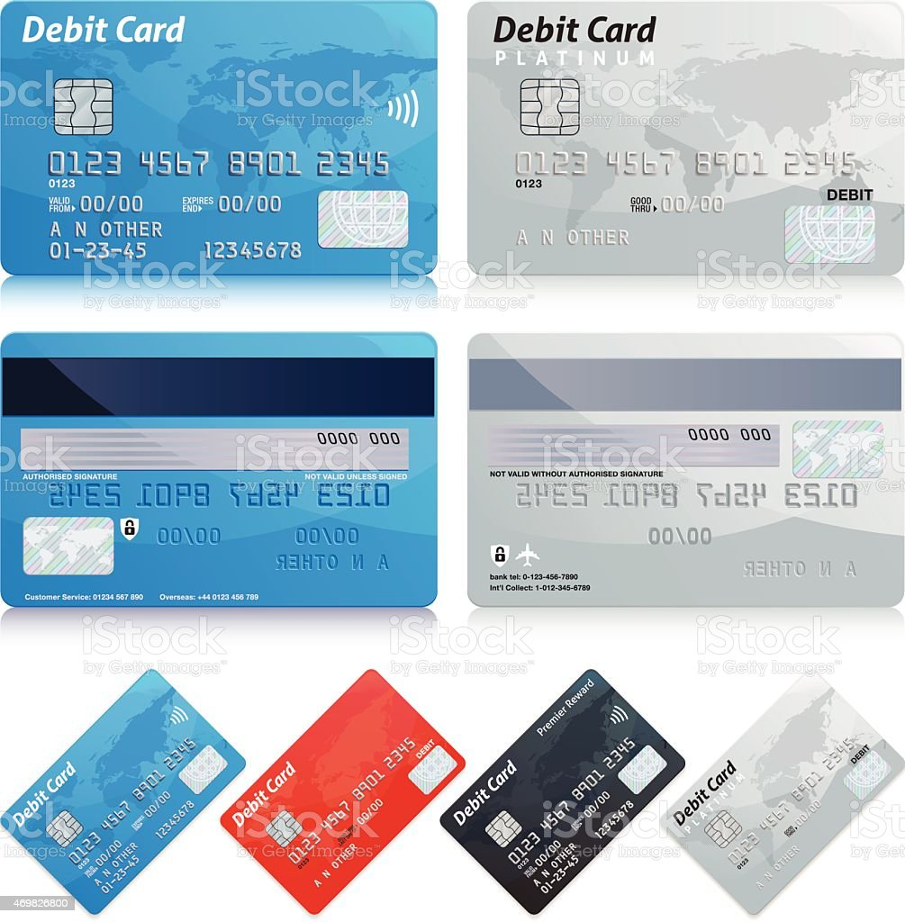 Templates of different kinds of debit cards vector art illustration
