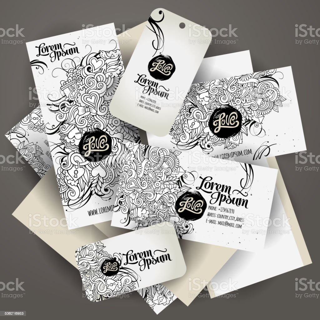 templates set with doodles love theme vector art illustration