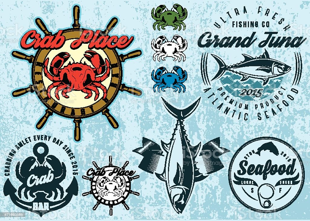 templates with crab and tuna for design packing seafood vector art illustration