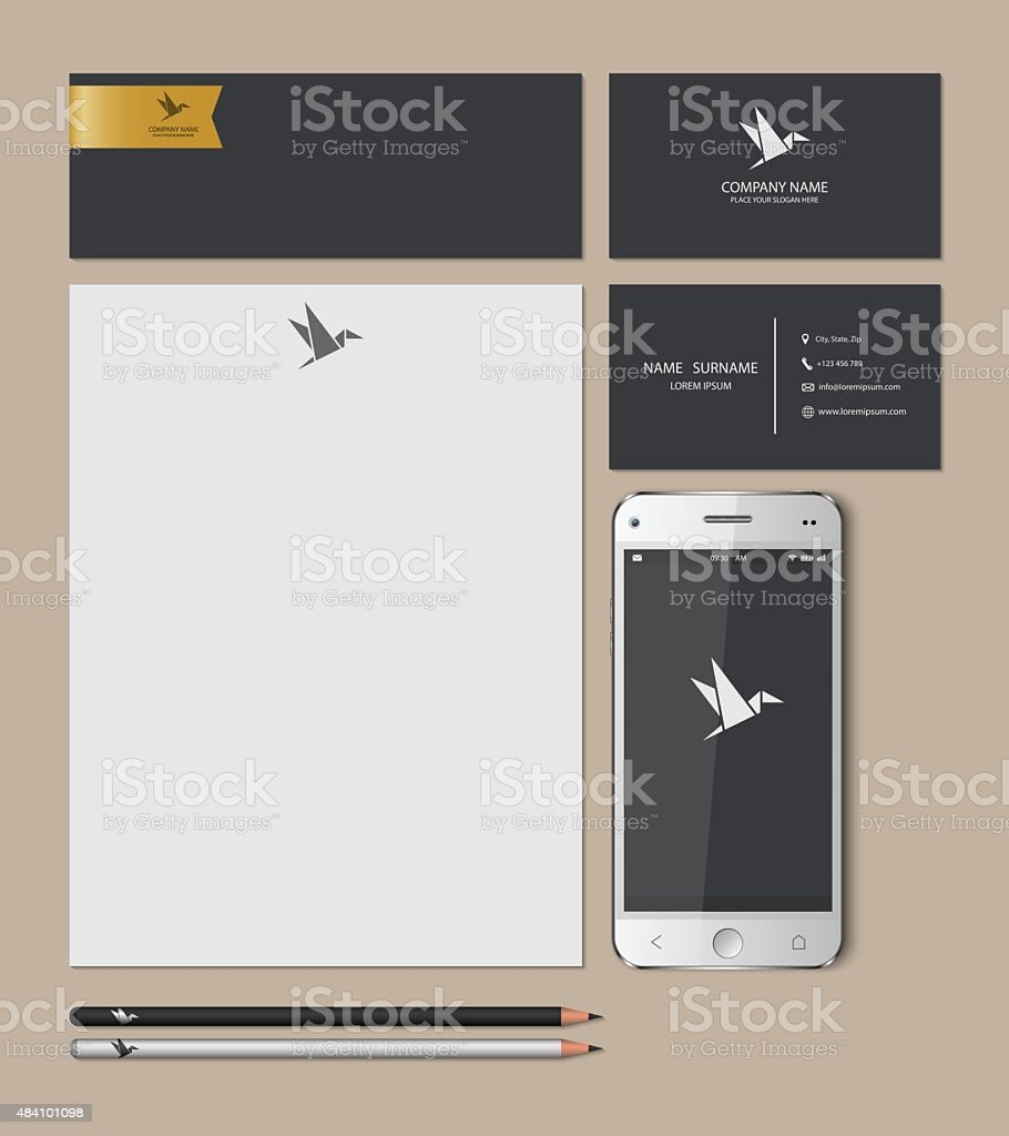 Templates:blank, business cards, smart phone, brand-book,pencil, Vector illustration. vector art illustration