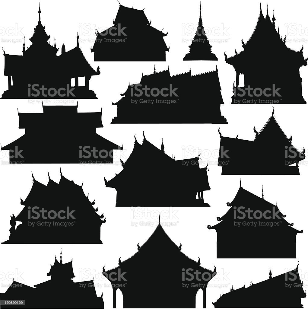 Temple building silhouettes royalty-free stock vector art