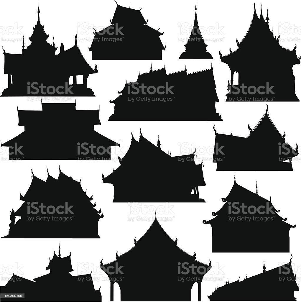 Temple building silhouettes vector art illustration