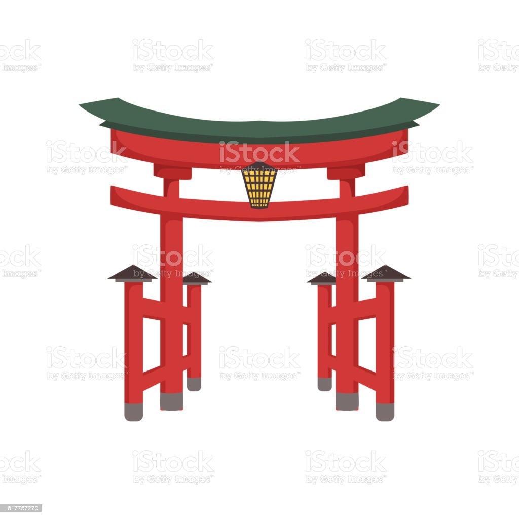 Temple Gate Japanese Culture Symbol vector art illustration