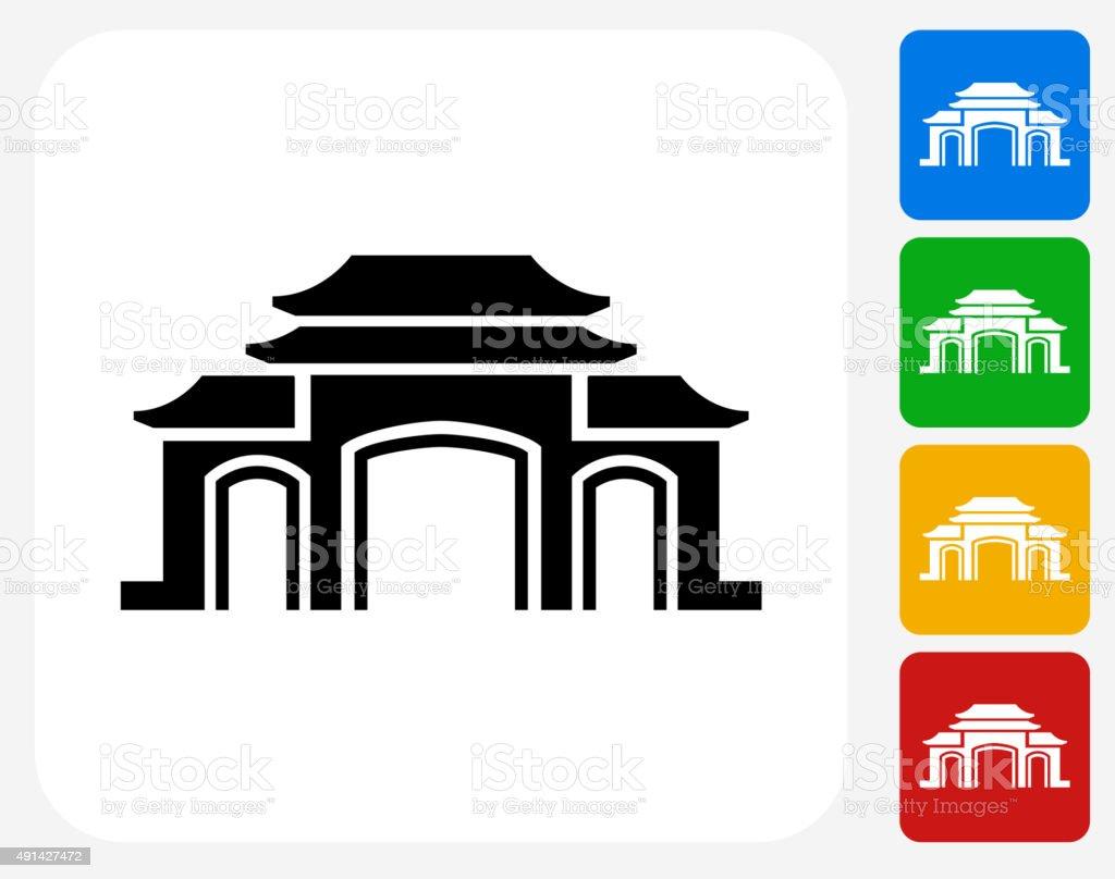 Temple Icon Flat Graphic Design vector art illustration