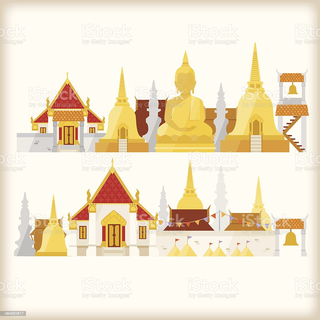 temple in thailand vector art illustration
