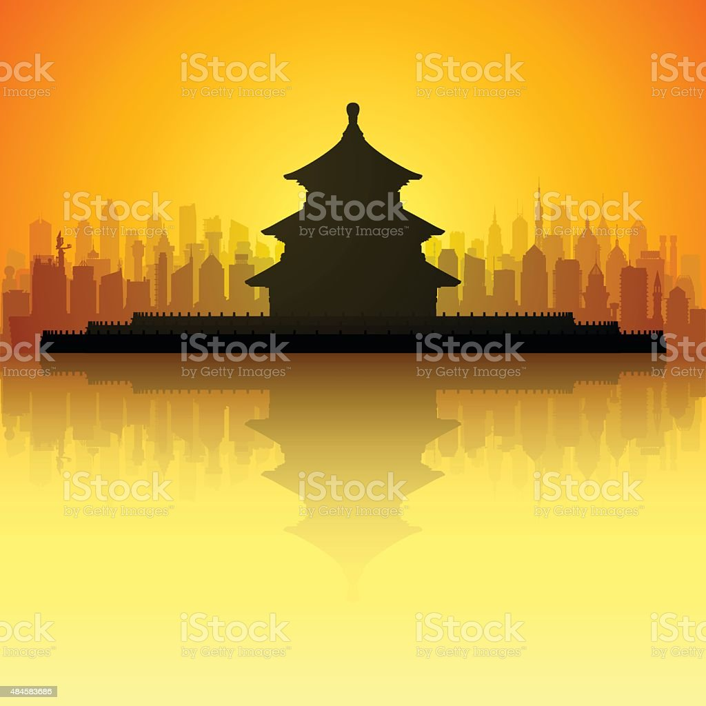 Temple of Heaven, Beijing (All Buildings Are Complete and Moveable) vector art illustration