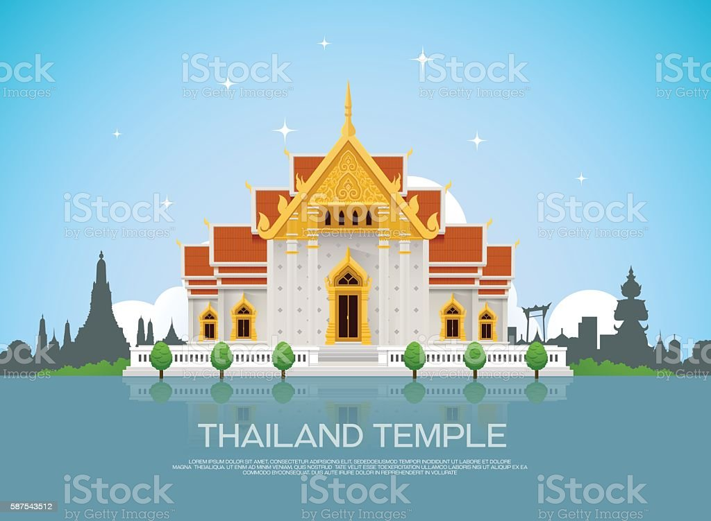 temple thailand vector art illustration