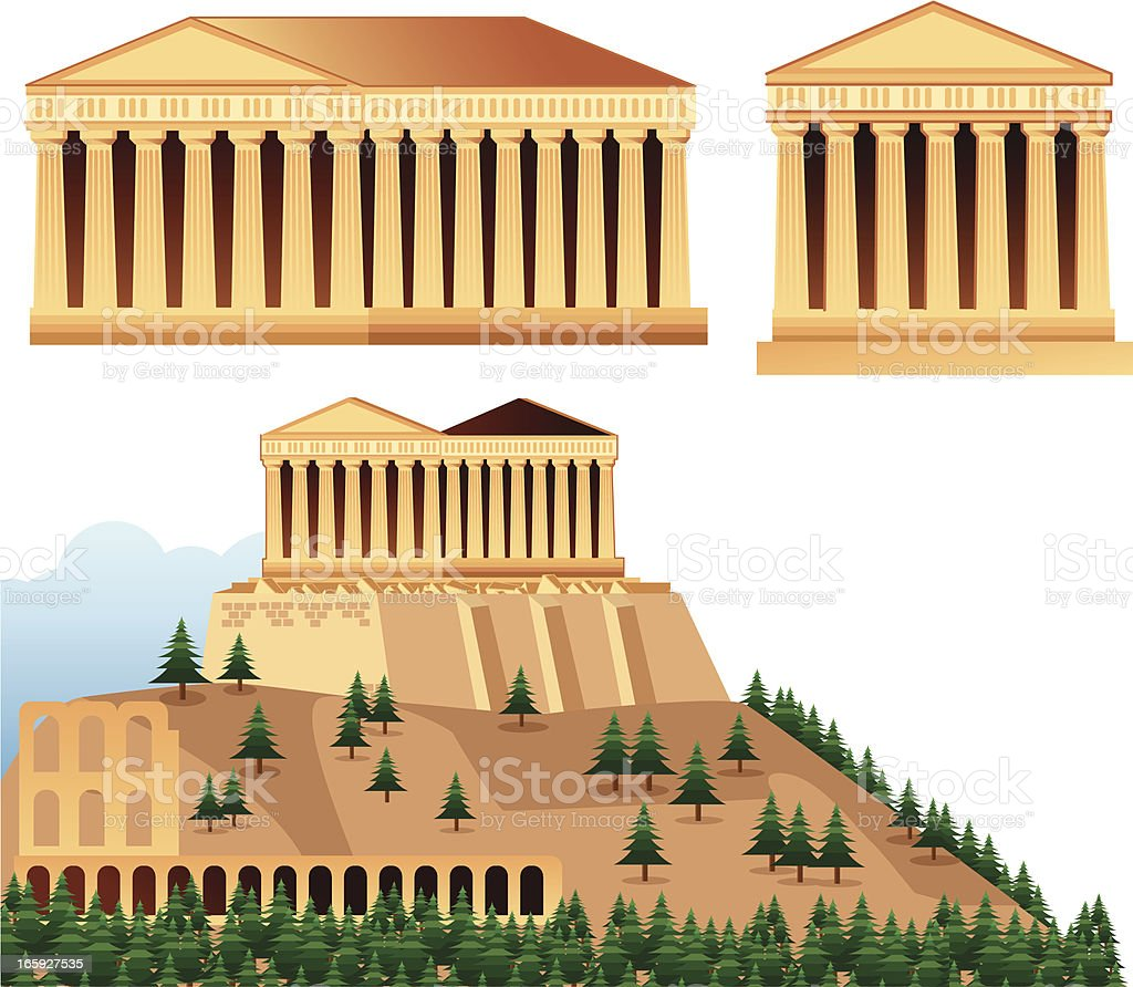 Temples of Athens vector art illustration