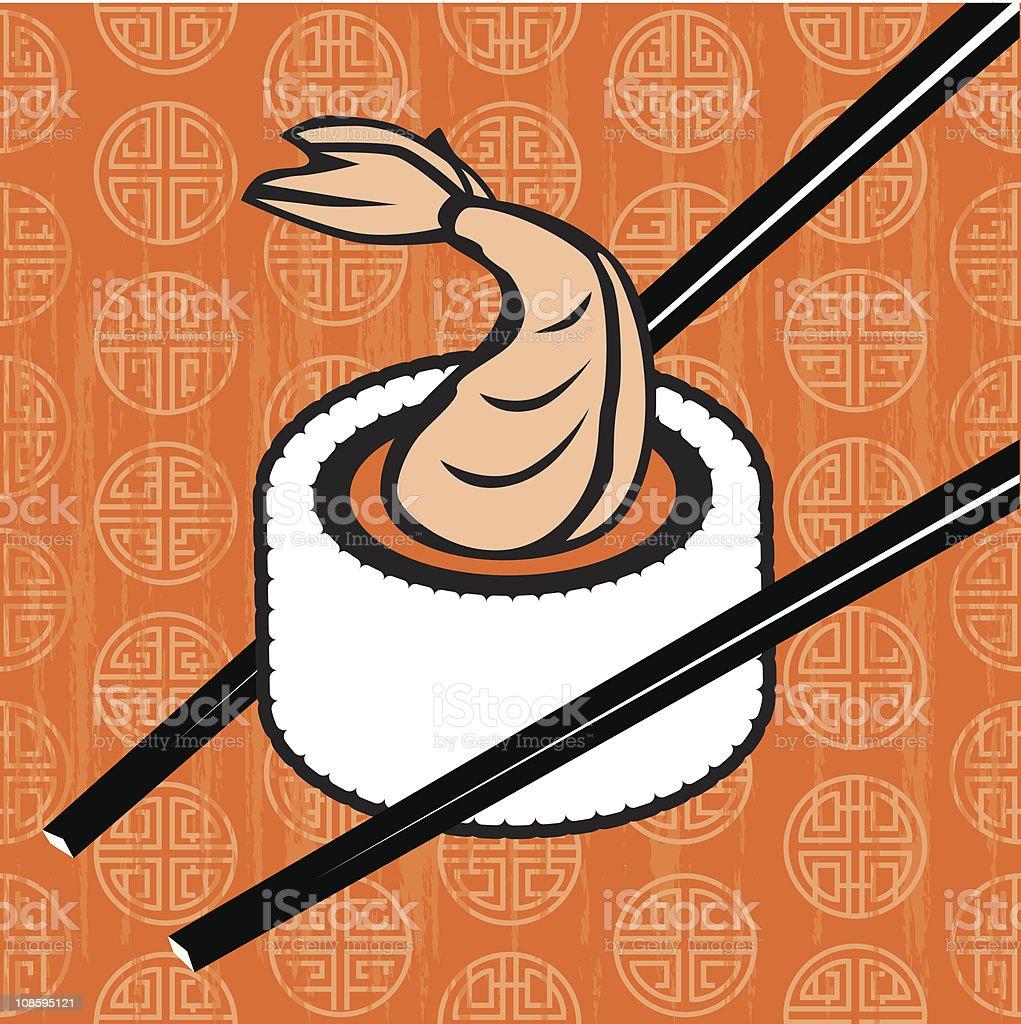 Tempura Shrimp Sushi Roll vector art illustration
