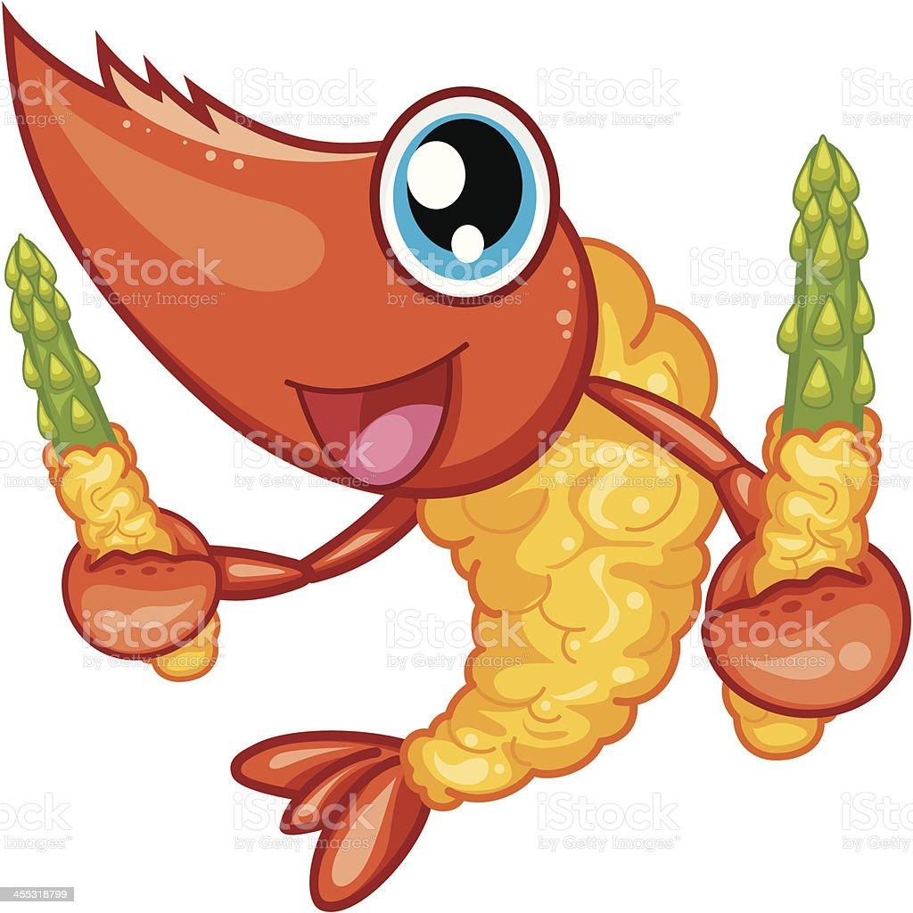 Tempura Shrimp vector art illustration