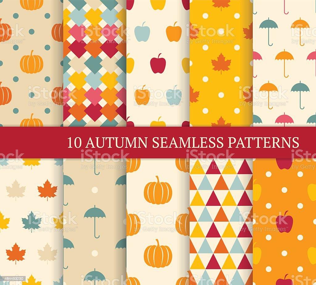 Ten autumn different seamless patterns. vector art illustration