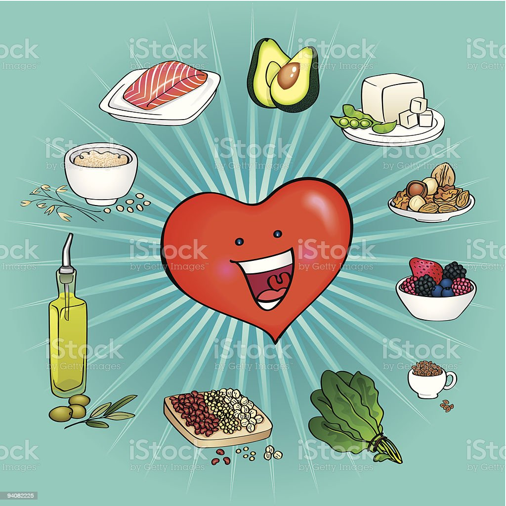 Ten Best Foods for the Heart vector art illustration