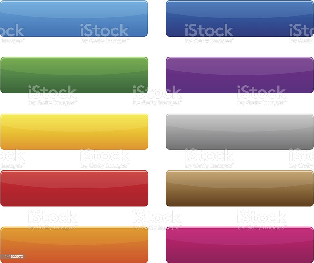 Ten blank buttons in different colors royalty-free stock vector art