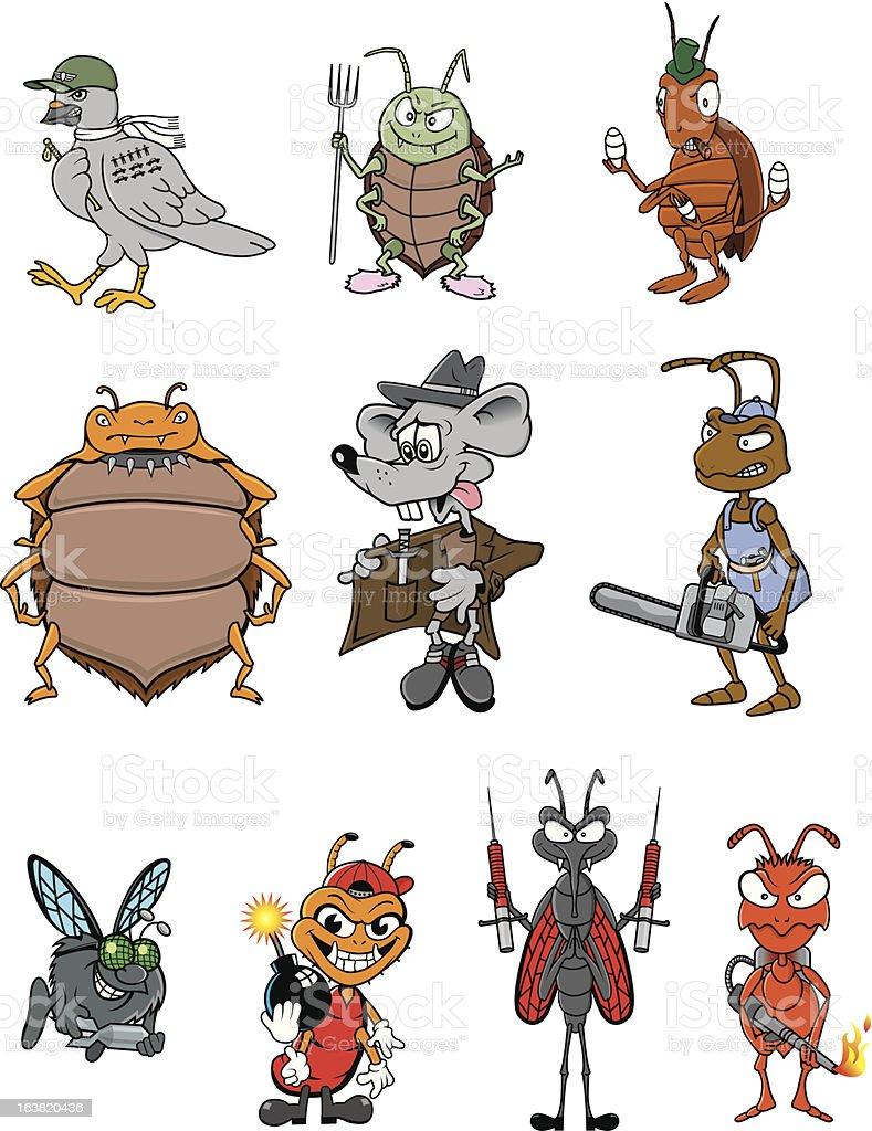 Ten Cartoon pests vector art illustration