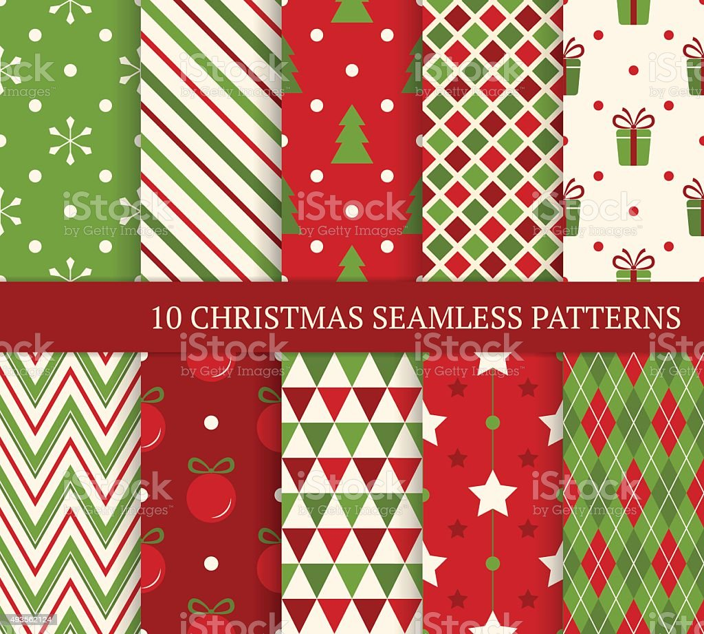 Ten Christmas different seamless patterns. vector art illustration