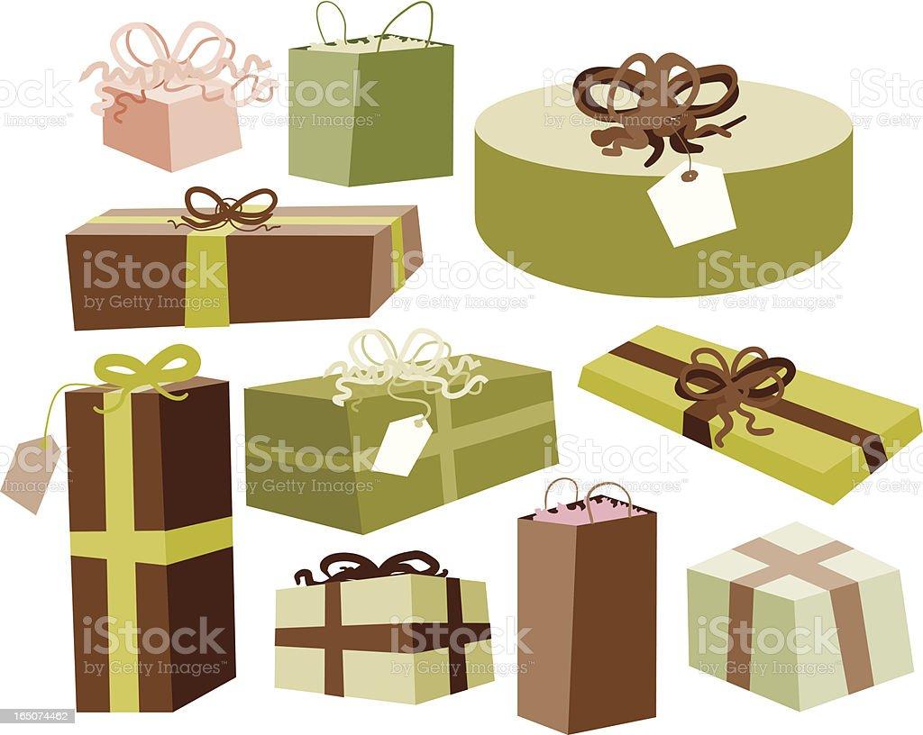 Ten Christmas Presents royalty-free stock vector art