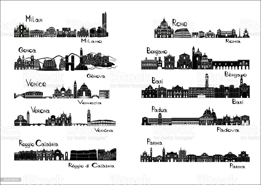 Ten cities of Italy  - silhouette signts vector art illustration