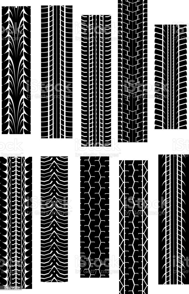 Ten different black tire treads on a white background vector art illustration
