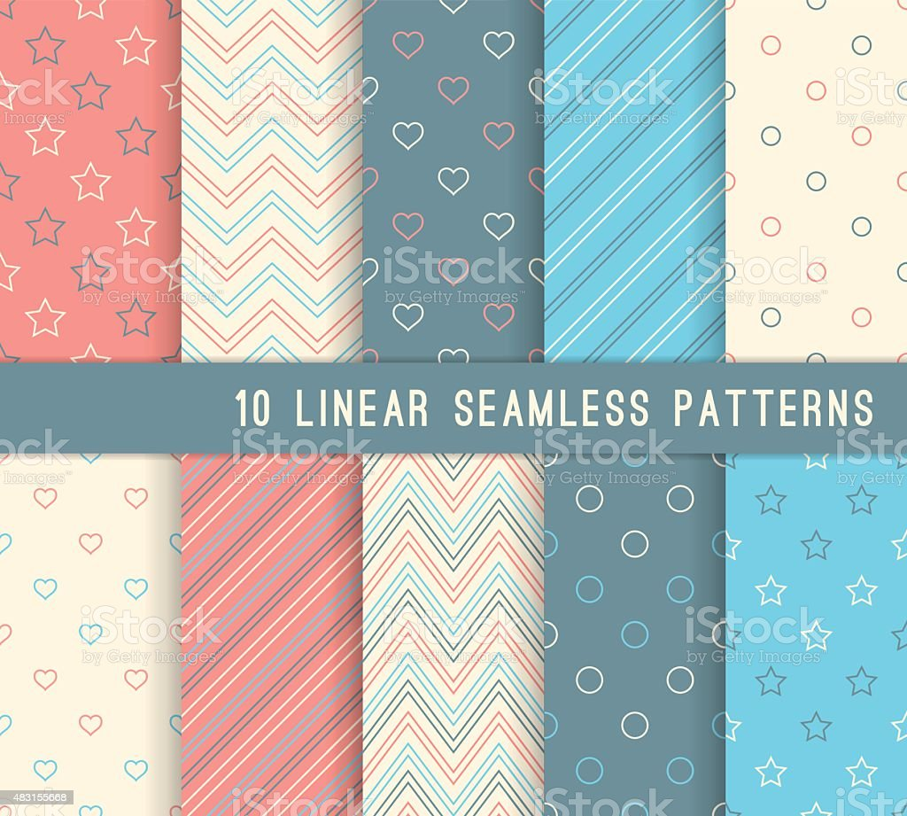 Ten different linear seamless patterns. vector art illustration