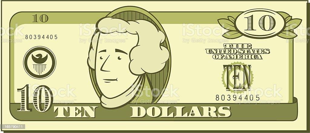 Ten Dollar Bill - Cartoon royalty-free stock vector art