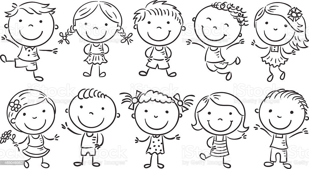 Ten Happy Cartoon Kids, outline vector art illustration