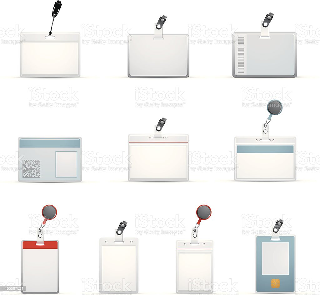 Ten ID badge templates designs vector art illustration