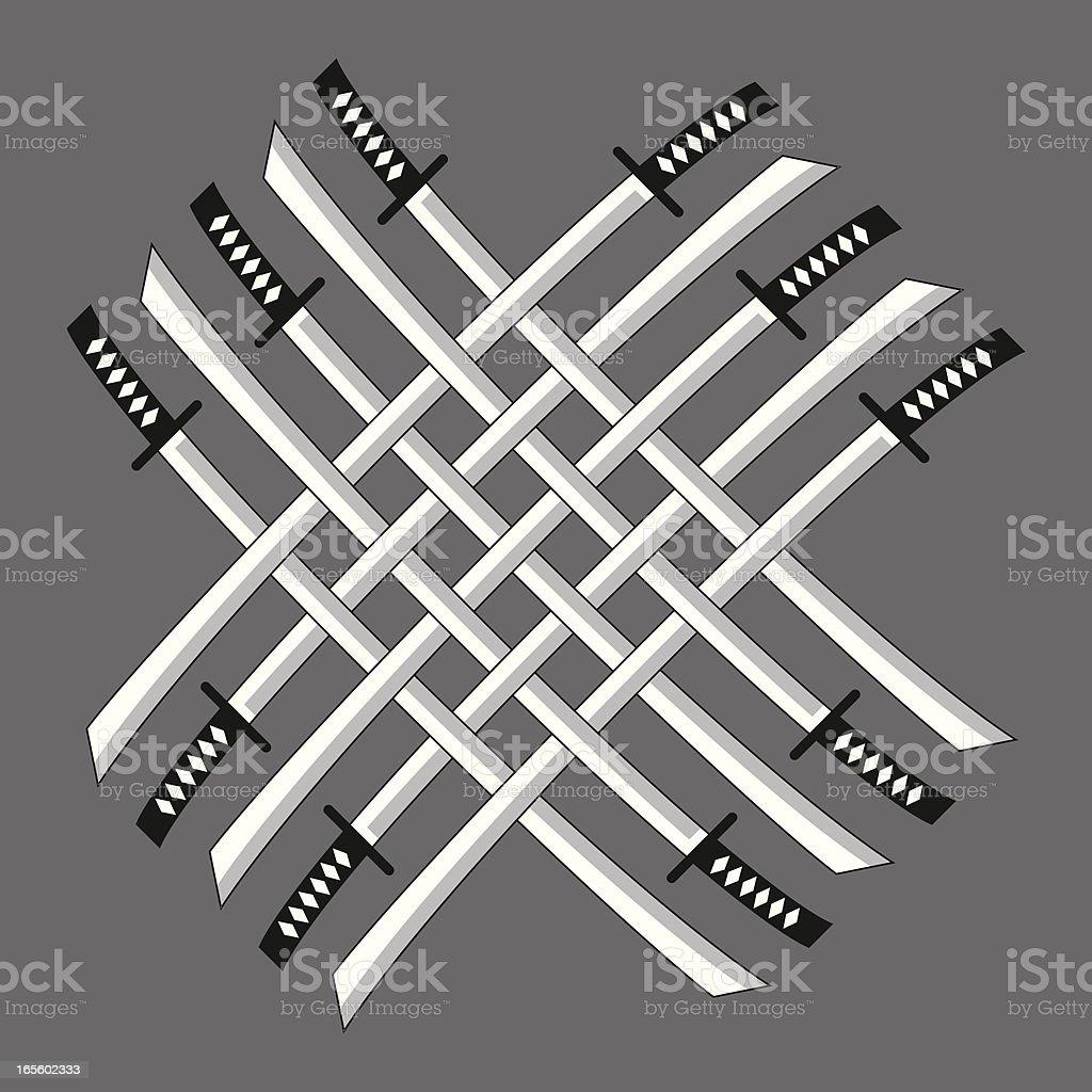 Ten Interlocked Katanas Vector Illustration (Japanese Swords) vector art illustration